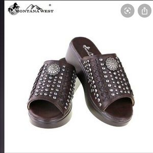 MONTANA WEST BROWN STUDDED WEDGE